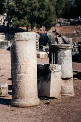 Ancient tales carved in stone columns