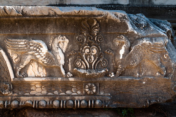 Griffons, carved in stone of ancient temple, Didyma, Turkey