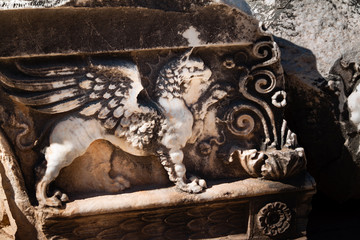 Mythical griffon relief