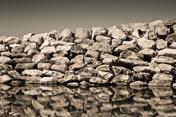 Detail of a Rock Wall - concept image - sepia toned