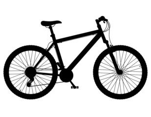mountain bike with gear shifting black silhouette vector illustr