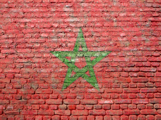 Morocco flag painted on wall