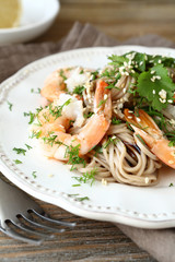 Buckwheat noodles with shrimp
