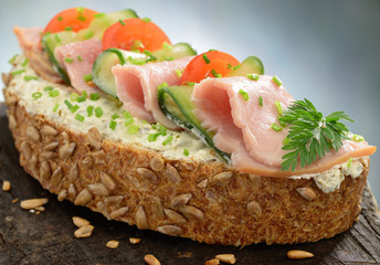 Ham and cheese open sandwich