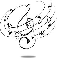 Chiave musicale bianco nero con solfeggio