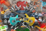 Fototapety Collage of music, color and bright musical background