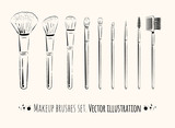 Makeup brushes kit.