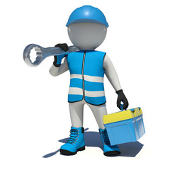 Worker in overalls holding tool box and wrench on his shoulder
