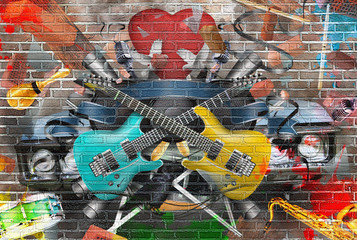 Collage of music, color and bright musical background