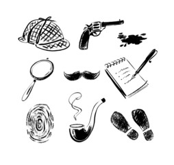 Detective sketch icons.