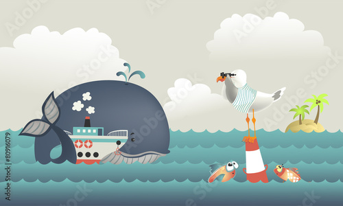 Whale,steamship and seagull in blue sea - 80916079