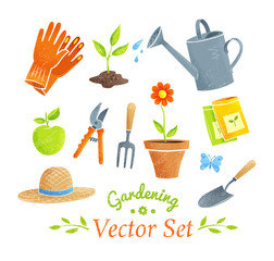 Gardening equipment vector set.