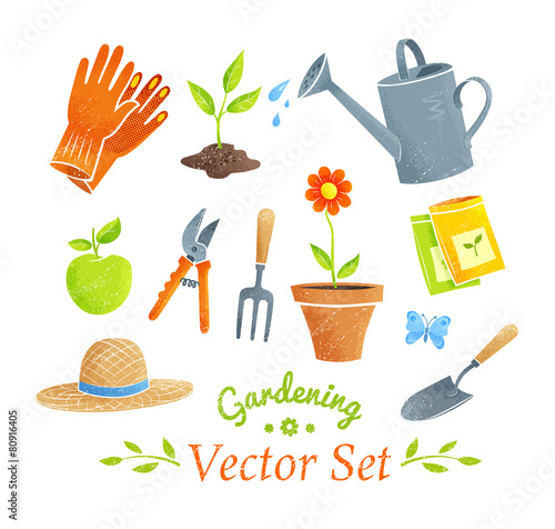 Gardening equipment vector set. - 80916405