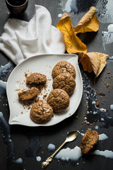 Flourless Walnut Cookies, Milk and Dried Leaves Messy Still Life