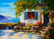 Oil painting on canvas of a beautiful houses near the sea, abstr - 80916824