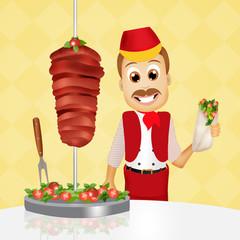 man with a kebab