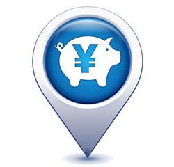 épargne yen sur marqueur géolocalisation bleu