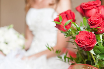 Close-up of bride bouquet of red rose