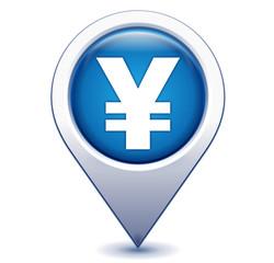 yen sur marqueur géolocalisation bleu