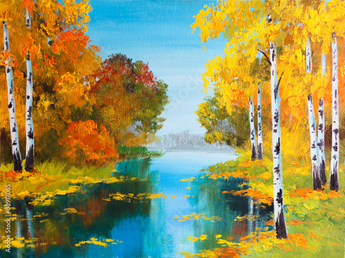 oil painting landscape - birch forest near the river - 80917065