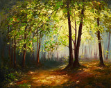 Fototapety Oil Painting landscape - summer forest, colorful abstract art