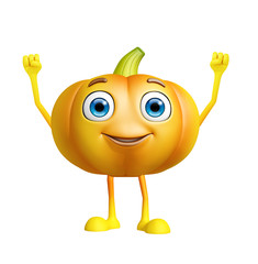 Pumpkin character with happy pose