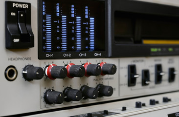 Professional video recorder Betacam SP. Sound control panel.