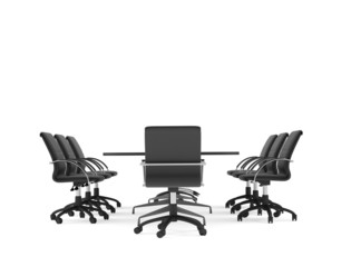Conference table and office chairs. Isolated