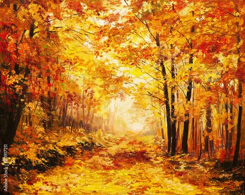 Plakat Oil painting landscape - colorful autumn forest