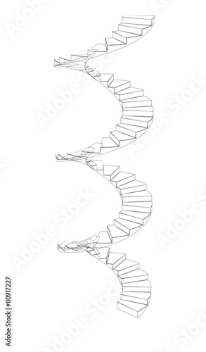 Front view of wire-frame spiral stairs. Isolated