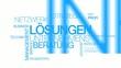 Network Lösungen Unternehmensberatung Blau Wort tag cloud