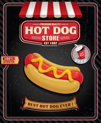 Vintage hot dog poster design