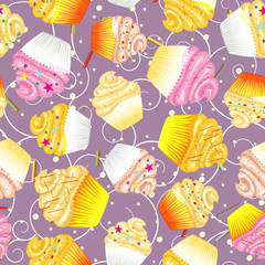 Cupcakes with cream Seamless vector background
