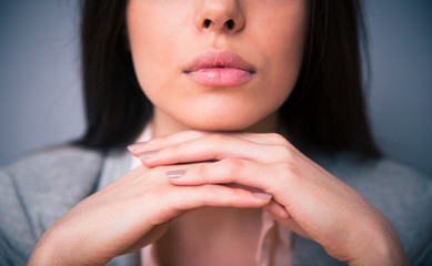 Closeup image of woman lips