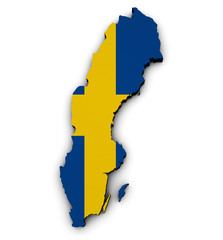 Sweden Map Flag 3d Shape