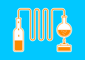 Orange distillation kit on blue background