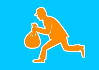 Orange thief icon on blue background