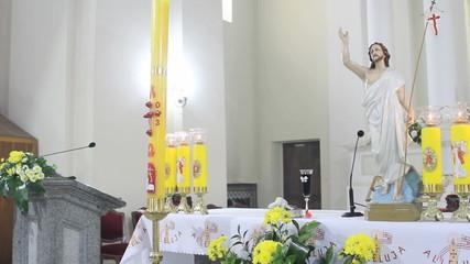 Altar in Catholic Church on Easter Sunday