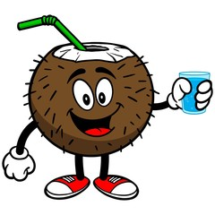 Coconut Drink with Cup of Water