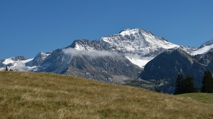Snow capped Wildhorn, high mountain in the Swiss Alps