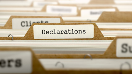 Declarations Concept with Word on Folder.