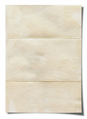 Blank old paper on white background. With clipping path
