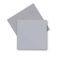 Grey envelope and card on white