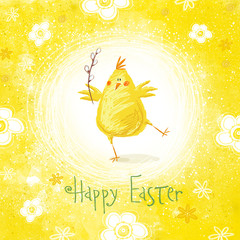 Happy easter greeting card. Cute chicken with text