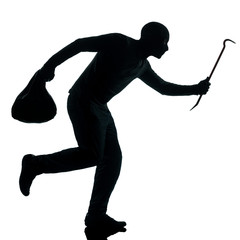 man thief criminal running silhouette