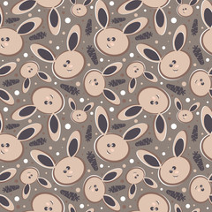 Rabbits Abstract seamless background.