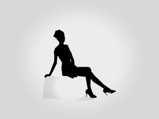 Charming woman sitting Silhouette Vector illustration