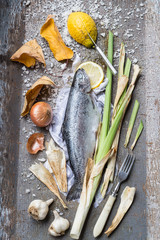 Roast Rainbow Trout Ingredients Still Life
