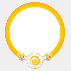 Yellow circular frame for your text and spiral