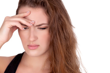 Young woman have headache problem